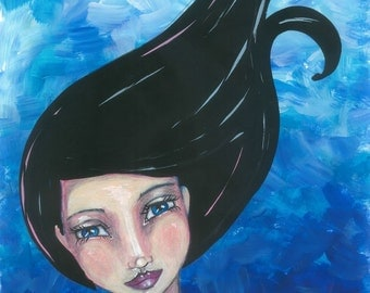 """Mixed Media Original Art Print of Whimsy Girl """"Celeste"""""""