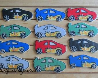 12 customized Race car cookies!