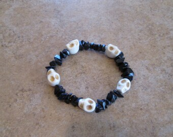 Crystal Skull Bracelet with Blue Goldstone beads
