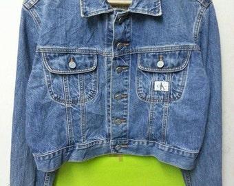 sale Vintage 1980s Calvin Klien Jeans CK Denim Indigo Blue Made Usa Womens Jean Jacket