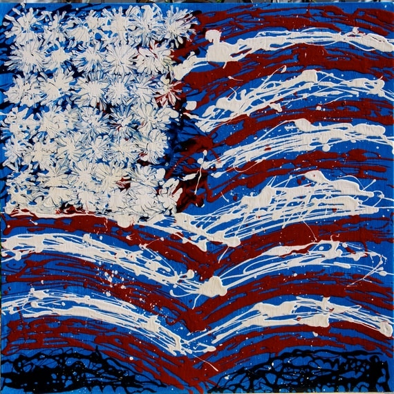 Original Abstract Art Painting: No. 13 American Flag Series By Wayne Smaridge American Flag Series 2' by 2' Blue Background Acrylic On Panel Fine Art at Wayne Smaridge on Etsy