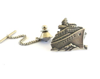Ship Tie Tack in Sterling Silver Ox Finish- Gifts For Men
