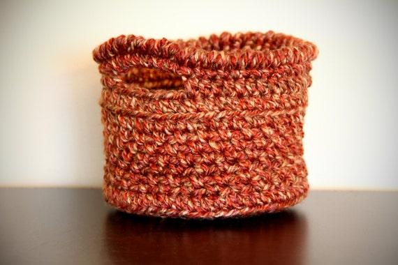 Handmade Crochet Basket : Crochet handmade mini storage basket with handles x