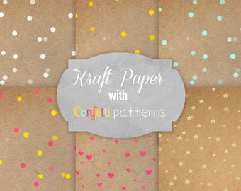 Digital Kraft Paper Pack with confetti pattern / Instant download / 6 Digital Papers - for Crafts, Digital Scrapbooking