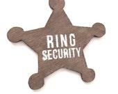 Ring bearer badge, ring security, wedding ring bearer badge