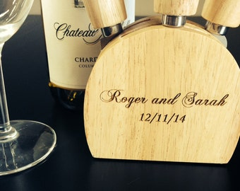 Personalized cheese serving set - Custom engraved - 3 piece wood set