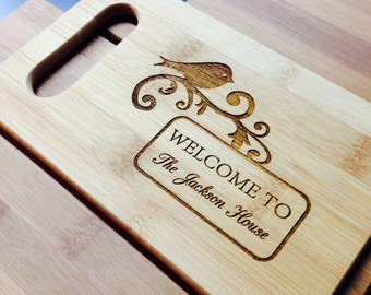 Custom Bamboo Cutting Board - Your names and dates - Wedding, Birthday, Housewarming  Special Gift