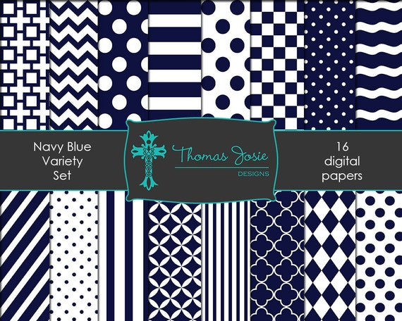 Navy Blue Digital Paper Backgrounds Striped Digital Polka Dot Digital Chevron Digital Quatrefoil Pattern Papers 8.5 x 11 - Instant Download