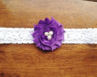 Shabby Chic Flower Headband with Pearls - Newborn Flower Headband with Pearls