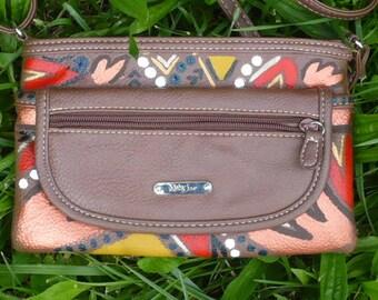Brown Hip Bag Over the Shoulder Purse Tribal Print Purse Small Travel Purse Cross-body Shoulder Bag Handpainted Handbag