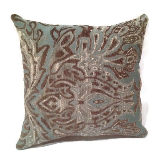 Throw Pillows Damask : Decorative Blue and Brown Damask Throw Pillow