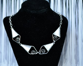 Art Deco Silver Necklace, Statement Necklace, Silver Beadwork Necklace