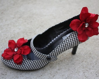 Dark Red Flower Shoe Clips-Toddler Flower Shoe Clips-Women/Bridal Flower Shoe Clips-Dard Red/Rhinestone