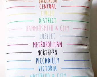 London Underground Metro Tube Lines Pillow / Cushion / Cover