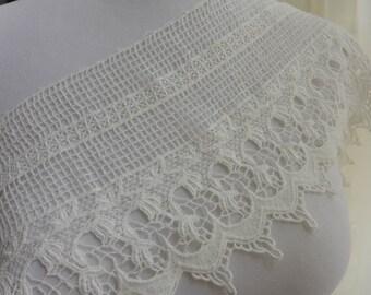 Cotton lace trim, wide off white lace, embroidery hollowed out lace fabric trim, white cotton lace