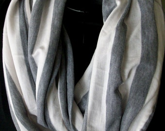Jersey Knit Infinity Scarf-Grey and White Striped