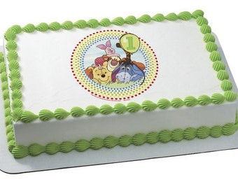 Winnie the Pooh (First Birthday) Edible Cake or Cupcake Toppers - Choose Your Size