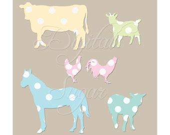 Pastel Farm Animal Clip Art, Baby Animal Clipart Vector, Cute Polka Dot Horse Lamb, Commercial Use