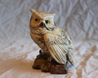 Vintage porcelain snowy owl figurine