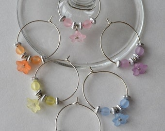 Flower wine charms with acrylic beads and accents