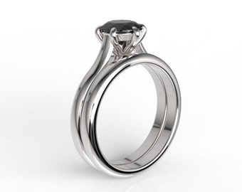 10k white gold wedding band and engagement ring set, natural black onyx, AKR-474