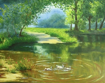 landscape painting Summer lake, oil painting Summer pond 18*24 inches oil on canvas, lake river trees forest, gallery quality