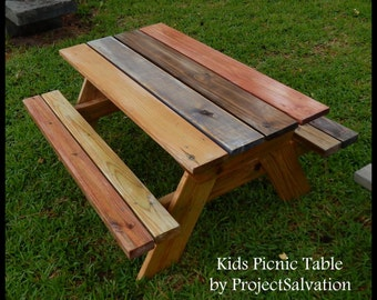 Kids Childrens Handcrafted Picnic Table