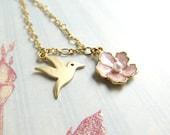 Hummingbird Necklace Gold Hummingbird Necklace Bird Necklace Gold Flower Necklace Gold Bird Necklace Enamel Flower Necklace Bird Jewelry