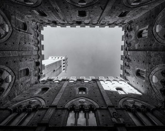 Torre del Mangia, Siena, Tuscany, Italy, Piazza del Campo, Tower, Architecture, Black and White - Print, Wall Art