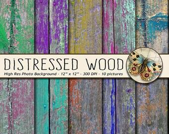 Distressed Wood Digital Paper, Digital Wood Background, Acid Washed Wood Texture, Painted Wood Texture Paper, Rustic Wood Background