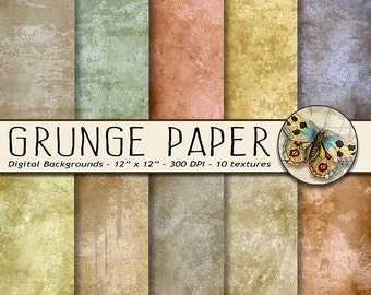 Grunge Digital Paper, Distressed Scrapbooking Paper with a Grunge Feel, Create Designs with an  Antiqued Background Paper