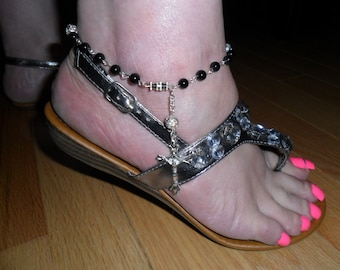 Healing Stone Anklet - Semi Precious Black Onyx Beads with Cross - HEAL36