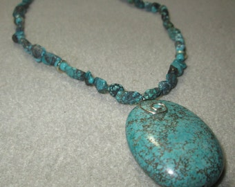 Silver and Turquoise Stone Necklace