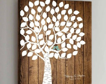 75 Guest CANVAS Wedding Guest Book Wood Wedding Tree Wedding Guestbook Canvas Alternative Guestbook Canvas Wedding Guestbook - Wood