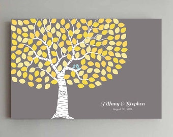 150 Guest Wedding Guest Book Wedding Gray Tree Wedding Guestbook Alternative Guestbook Poster Wedding Guestbook Poster - Gray and Yellow