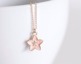 Pink Sakura Necklace - Flower Necklace Gold - Golden - Crystal - Choker - Diamond - Couple - Womens  - Dogeared Necklace - Mother's Day