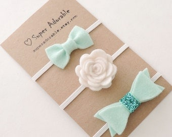Baby Headband in Pale Mint  - Felt Baby Headband, Newborn Headband, Baby Girl Headband, Flower Headband