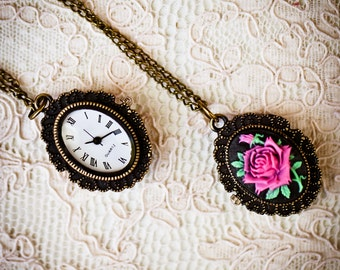 Rose Pocket Watch Necklace (The Belle Pocket Watch)