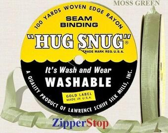 "Moss Green 618/ Hug Snug Seam Binding / 100 yard spool -1/2"" Width - 100% Woven-Edge Rayon - Best Seller - Schiff Ribbon by Zipperstop"