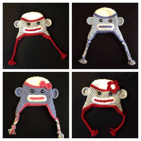 Crochet Sock Monkey beanie earflap hat Sizes Preemie Adult