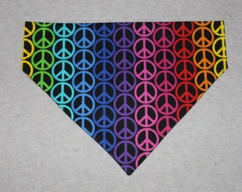 Multi-Colored Peace Sign Patterned Dog Bandana in Small, Medium & Large
