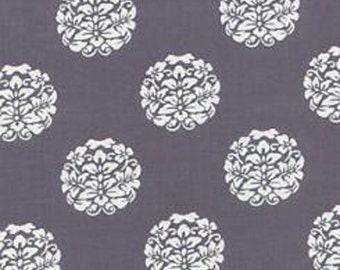Designer cotton fabric by the yard, quilting cotton, gray medallion fabric, premium cotton by Paula Prass for Michael Miller. One yard left.