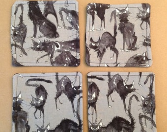 Fabric Halloween coasters, quilted, Black Cats, set of 4