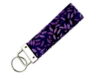 Personalized Key Chain / Key Fob Purple and Lavender Batik With Optional Initials