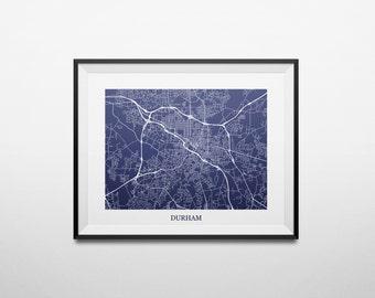 Durham, North Carolina Abstract Street Map Print
