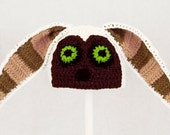 Momo Hat from Avatar the Last Airbender, White Anime Legend of Korra Cosplay Beanie, Crochet / Knit Hat Costume any size baby - adult