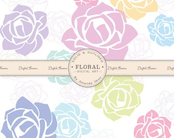 Premium Rose Vectors, Roses Clip Art, Rose Clipart in Soft Pastels - Flower Clip Art, Floral Clip Art, Flower Vectors, Floral Vectors