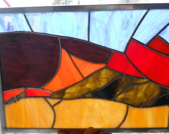 Death Valley stained glass panel with chuckwalla lizard