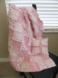 Baby Girl Crib Size Rag Quilt With Free Pillow Soft