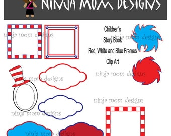 Childrens Story Book Red and Blue Frames Clip Art